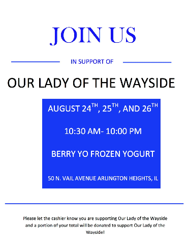 Our lady of the wayside Fundraiser August 2016